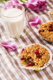 Oat muffins with cranberries. With a glass of milk and a bouquet of flowers on a checkered napkin Royalty Free Stock Photos