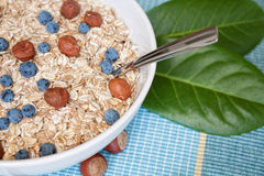 Oat nuts with blueberries Stock Image