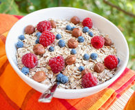 Oat nuts breackfast. Oat nuts with fresh blueberries and raspberries and hazelnuts Royalty Free Stock Photos