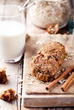 Oat and peanut butter cookies with glass of milk Royalty Free Stock Photo