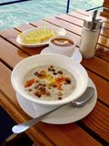 Oat porridge. Morning breakfest of oat porridge with dry fruits Stock Photos