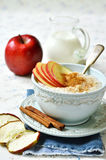 Oat porridge with apple,honey and cinnamon. Stock Image