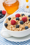 Oat porridge with fresh berries, vertical Royalty Free Stock Photo