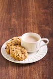 Oat, raisin and chocolate chip cookies Stock Photo