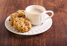 Oat, raisin and chocolate chip cookies Royalty Free Stock Photography