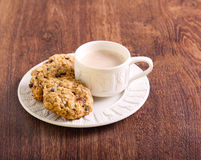 Oat, raisin and chocolate chip cookies Royalty Free Stock Images
