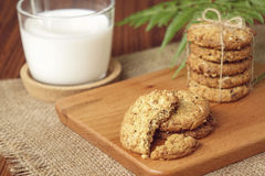 Oat and raisin cookies with milk Royalty Free Stock Photography