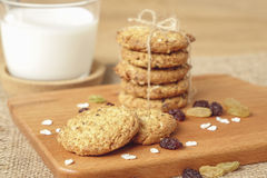 Oat and raisin cookies with milk Royalty Free Stock Photos