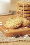 Oat and raisin cookies with milk Stock Photos