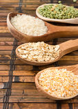 Oat, rice and pea in wood spoon Stock Photography