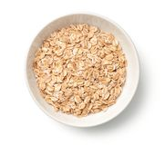 Oat Rye Flakes in Bowl Isolated on White Background Stock Image