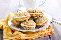 Oat sandwich cookies Royalty Free Stock Photos
