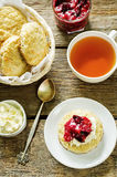 Oat scones with cream cheese and caramelised plums Royalty Free Stock Photography