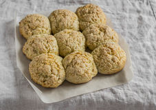 Oat scones on a gray background. Stock Images