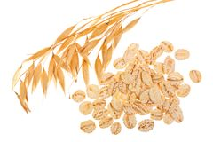 Oat spike with oat flakes isolated on white background. Top view.  Royalty Free Stock Photos