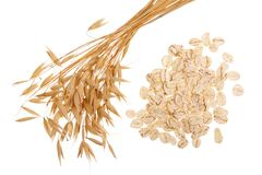 Oat spike with oat flakes isolated on white background. Top view.  Royalty Free Stock Photography