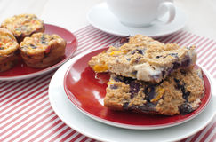Oat squares and egg muffins for breakfast Stock Image