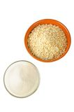 Oat and sugar: carbohydrate foods Stock Image