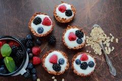 Oat tarts with fresh fruits Royalty Free Stock Photos