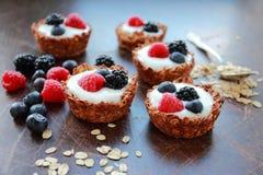Oat tarts with fresh fruits Stock Photos