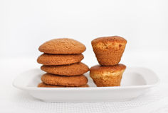 Oat thin captain and cakes on white Stock Photos