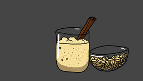 Oat water illustration. Oat water on gray background, illustration Royalty Free Stock Photography