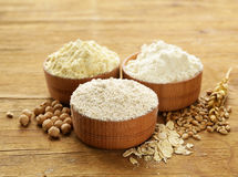 Oat, wheat and chick-pea flour Stock Photos