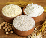 Oat, wheat and chick-pea flour Stock Images