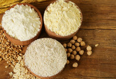 Oat, wheat and chick-pea flour Stock Photography