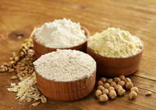 Oat, wheat and chick-pea flour Royalty Free Stock Photography