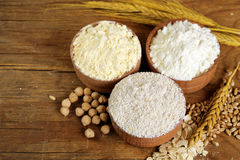 Oat, wheat and chick-pea flour Royalty Free Stock Images
