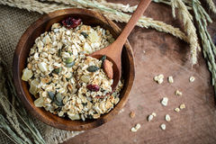 Oat and whole wheat grains flake in wooden bowl Royalty Free Stock Image