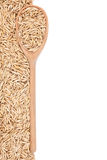 Oat  with a wooden spoon Royalty Free Stock Image