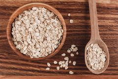 Oat on wooden table Royalty Free Stock Images
