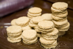 Oatcakes. Stacks of home made oatcakes Royalty Free Stock Photos