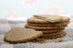 Oatcakes on a kitchen towel Royalty Free Stock Photography