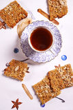 Oatflakes biscuits and cup of tea Royalty Free Stock Photo