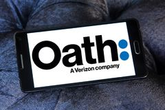 Oath company logo. Logo of Oath company on samsung mobile. Oath Inc. is a subsidiary of Verizon Communications that serves as the umbrella company of its digital Royalty Free Stock Images