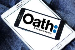 Oath company logo. Logo of Oath company on samsung mobile. Oath Inc. is a subsidiary of Verizon Communications that serves as the umbrella company of its digital Royalty Free Stock Photos