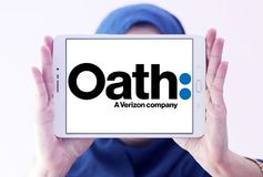 Oath company logo. Logo of Oath company on samsung tablet holded by arab muslim woman. Oath Inc. is a subsidiary of Verizon Communications that serves as the Stock Image