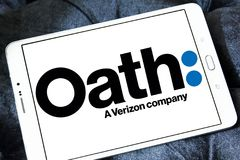 Oath company logo. Logo of Oath company on samsung tablet. Oath Inc. is a subsidiary of Verizon Communications that serves as the umbrella company of its digital Royalty Free Stock Photos