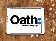 Oath company logo. Logo of Oath company on samsung tablet on wooden background. Oath Inc. is a subsidiary of Verizon Communications that serves as the umbrella Royalty Free Stock Images