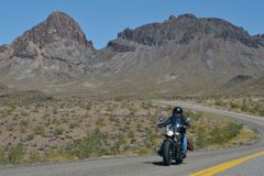 Oatman Arizona, USA, April 18, 2017: En cyklist som rider Route 66 Royaltyfri Foto