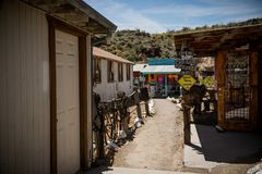 The City of Oatman on Route 66 in Arizona. Oatman is a town in the Black Mountains of Mohave County, Arizona, United States. Located at an elevation of 2,710 stock photos