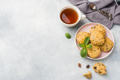 Oatmeal χορτοφάγα muffins με τα βακκίνια και καρύδια σε ένα πιάτο Υγιές διάστημα αντιγράφων προγευμάτων έννοιας στοκ φωτογραφία με δικαίωμα ελεύθερης χρήσης