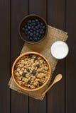Oatmeal δημητριακά προγευμάτων με τα βακκίνια και το γάλα Στοκ φωτογραφία με δικαίωμα ελεύθερης χρήσης
