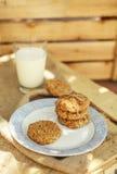 Oatmeal και μπανανών μπισκότα με το ποτήρι του γάλακτος Στοκ Εικόνα