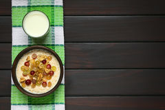 Oatmeal κουάκερ με τα σταφύλια και τα ξύλα καρυδιάς Στοκ εικόνα με δικαίωμα ελεύθερης χρήσης