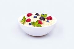 Oatmeal με τα μούρα Στοκ Εικόνες