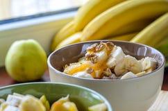Oatmeal με την μπανάνα, την πορτοκαλιά, πράσινη Apple, τα ξύλα καρυδιάς, τους σπόρους σουσαμιού και Chia Στοκ Εικόνα